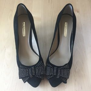 "Black ""Asya"" Suede Wedges with Studded Bow"
